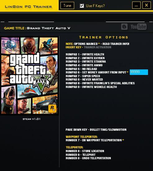 Grand Theft Auto V +14 Trainer – LinGon